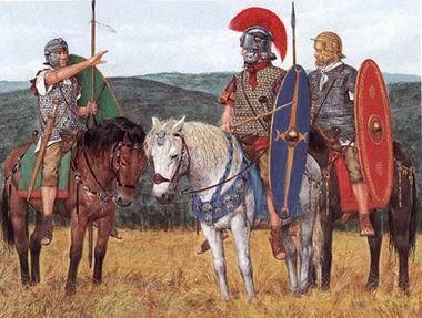 Vexillium: Estandarte o pabellón distintivo de la caballería romana. Consistía en una pieza cuadrada de tejido unido a una barra horizontal coronada por dos águilas de bronce.