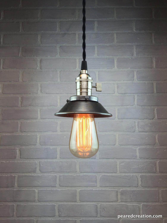 pendant lighting edison bulb. Industrial Pendant Lamp - Edison Bulb Metal Shade Hanging Steampunk Lighting O