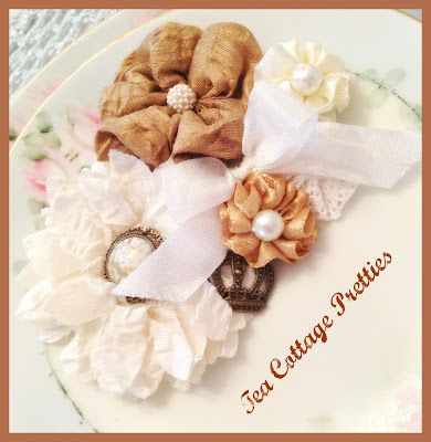 Tea Cottage Pretties: A RIBBON BROOCH, TWO LACE SKIRTS AND A MATCHING PURSE!