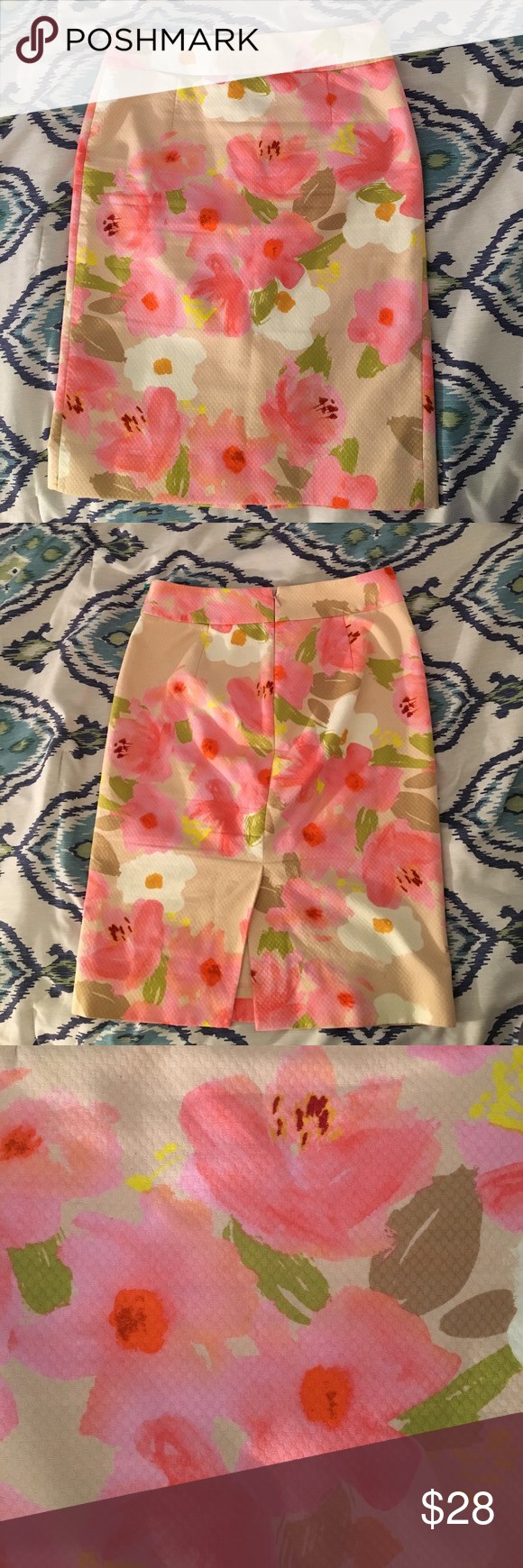 """J. Crew Watercolor Floral Pencil Skirt Like new J. Crew Watercolor Floral pencil skirt, size 2. 100% cotton. Textured cotton pique fabric with bright shades of pink, nude, chartreuse, white, and coral. Back zip and bottom vent. knee length. Laying flat: waist - 14.5"""", length - 23 1/4"""" super cute! No longer fits last photo for reference J. Crew Skirts Pencil"""