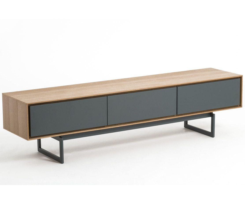 Meuble Tv Design Valeo Chene Et Gris 180 Cm Tiroirs Systeme Push Pull Mobilier De Salon Meuble Tv Design Meuble Tv