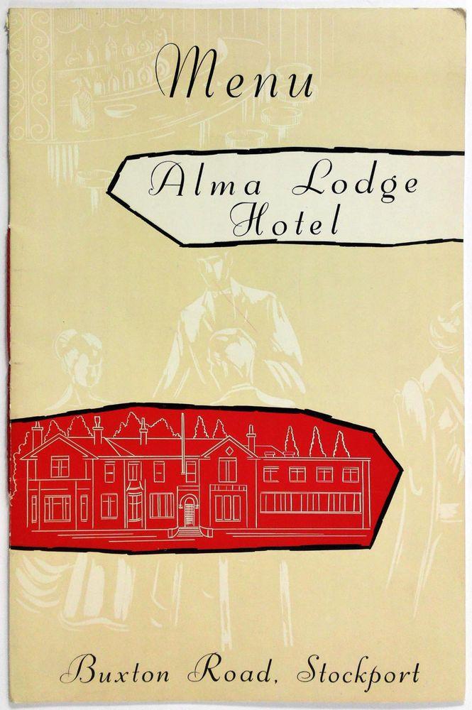 1960\u0027s Vintage LARGE Menu ALMA LODGE HOTEL Restaurant Stockport