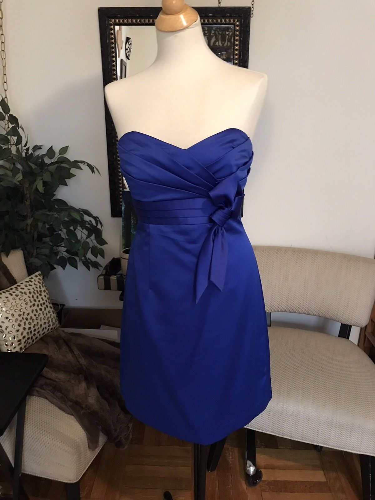 Details about alfred angelo bridesmaid dress size blue strapless