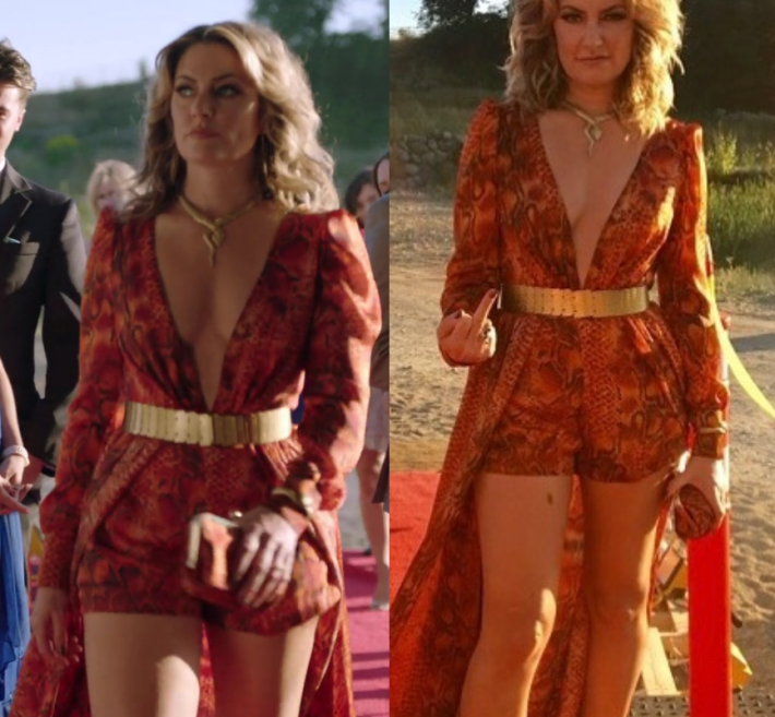 d31d9add0d74 2x05 by Kirsty1 Comment Alice Cooper (Madchen Amick) wears this orange deep  v neck layered maxi romper in this episode of Riverdale