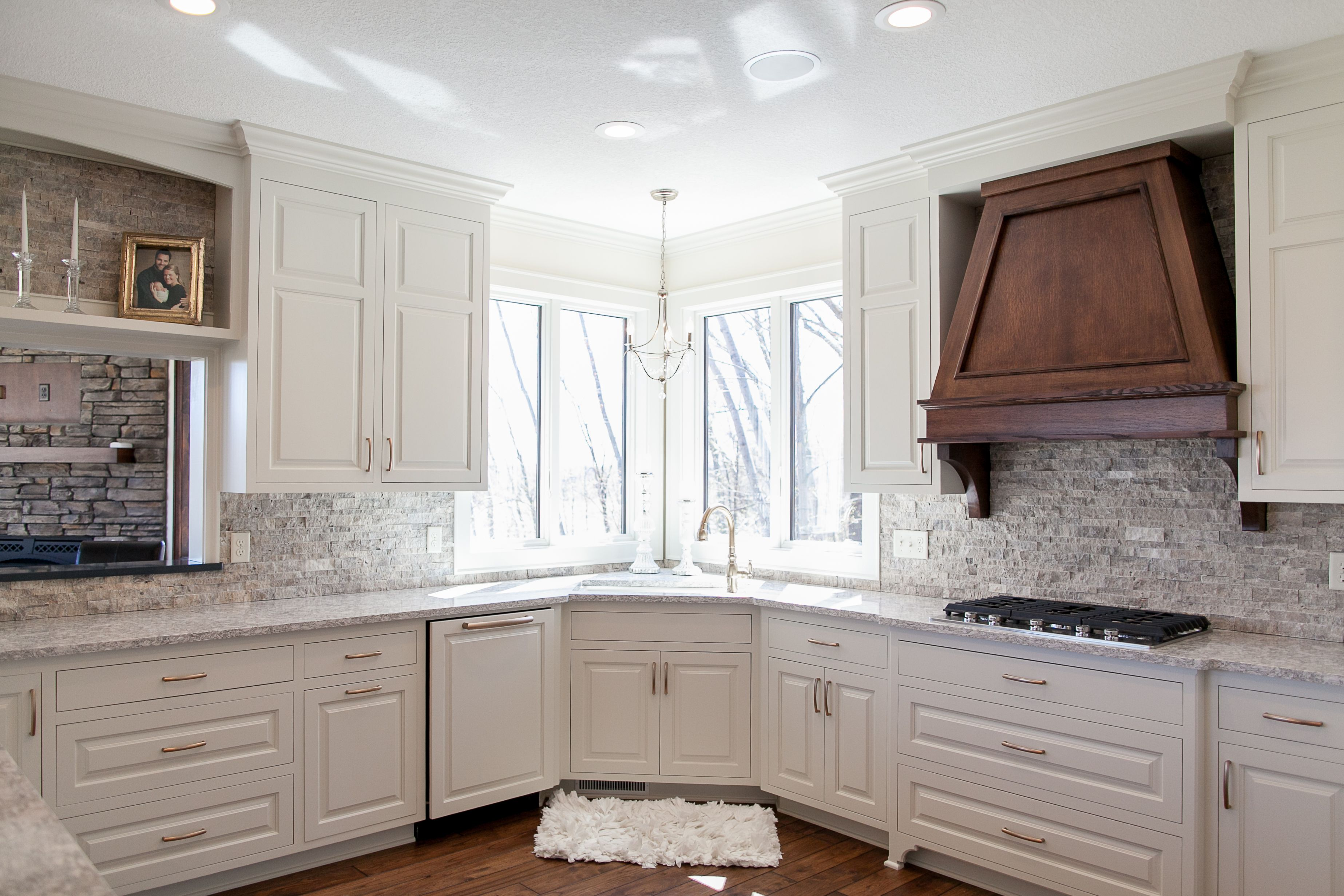 White Custom Kitchen. Hand Scrapped Rustic Hickory Flooring. Quarter ...