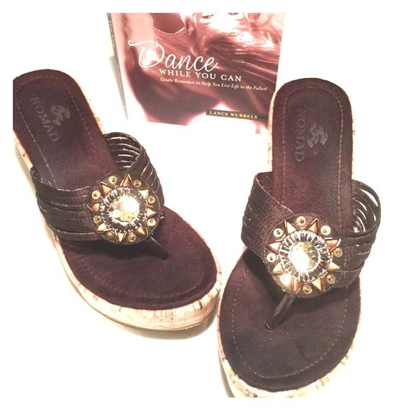 13dd6acf67134 Nomad Wedge Shoes Brown 6.5 Hot wedges. Brown with gold bling and 4
