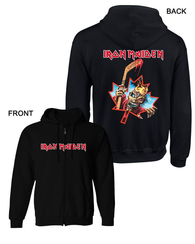 Iron Maiden Eddie Canada Ice Hockey Hooded Sweatshirt Zip Hoodie S M L Xl Xxl Hooded Sweatshirts Zip Sweatshirt Sweatshirts