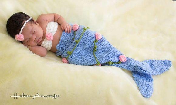 08c7712cd Fantasia Sereia Newborn Bebê Sereia Crochê