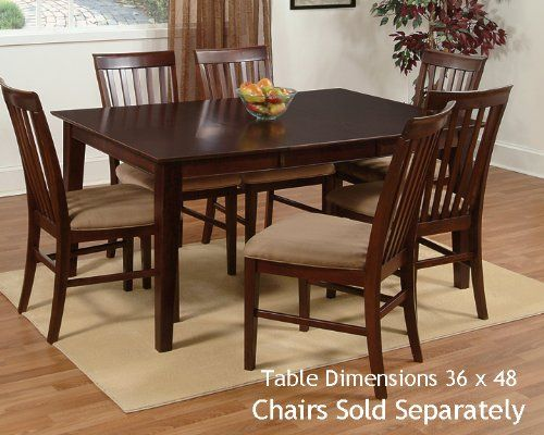 Shaker Dining Table With 36 X 48 Solid Top In An Espresso Finish Prepossessing Espresso Dining Room Table Sets 2018