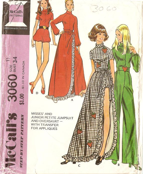 1970s Womens Jumpsuit Playsuit Pattern with long by CherryCorners ...