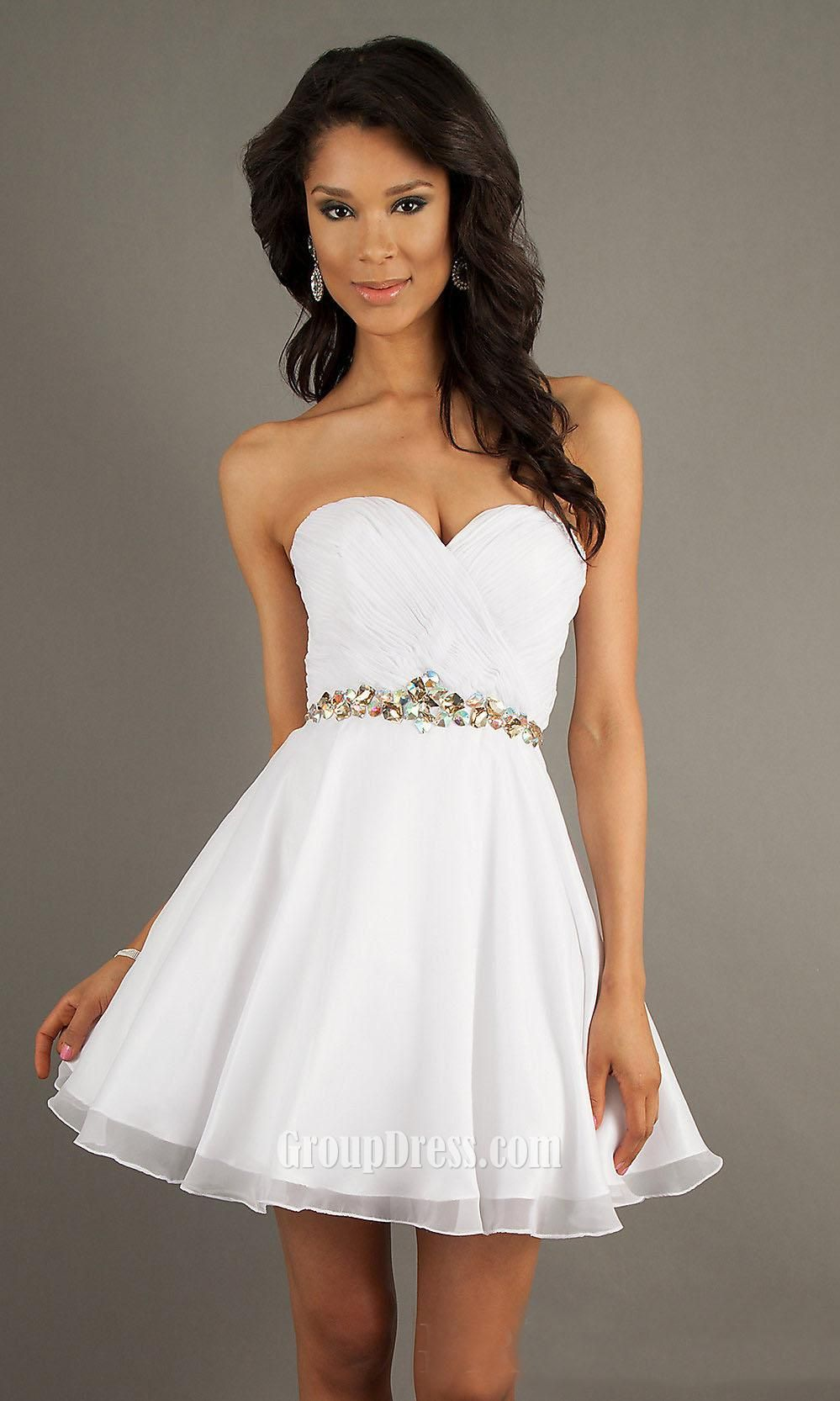 White Chiffon Sweetheart Strapless A Line Short Prom Dress With ...