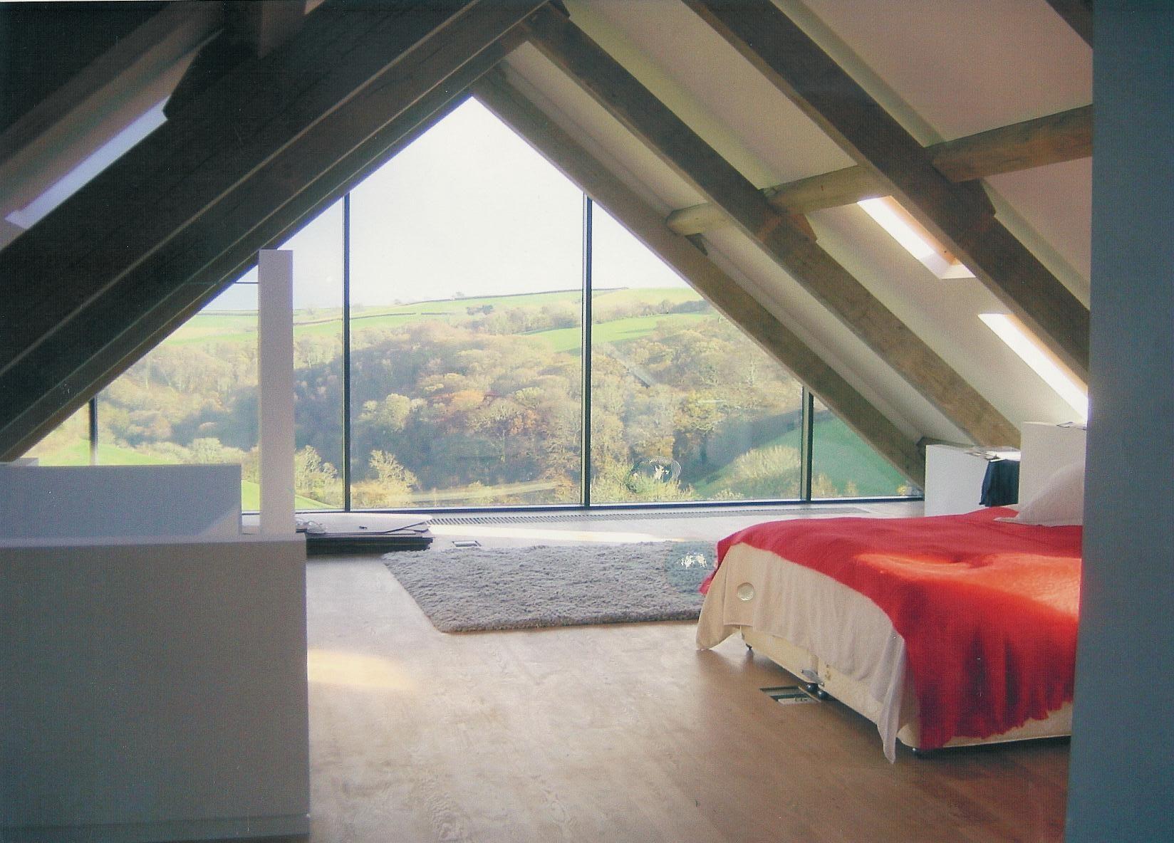 Honeymoon Bedroom Ideas With Large Glass Window And Doors