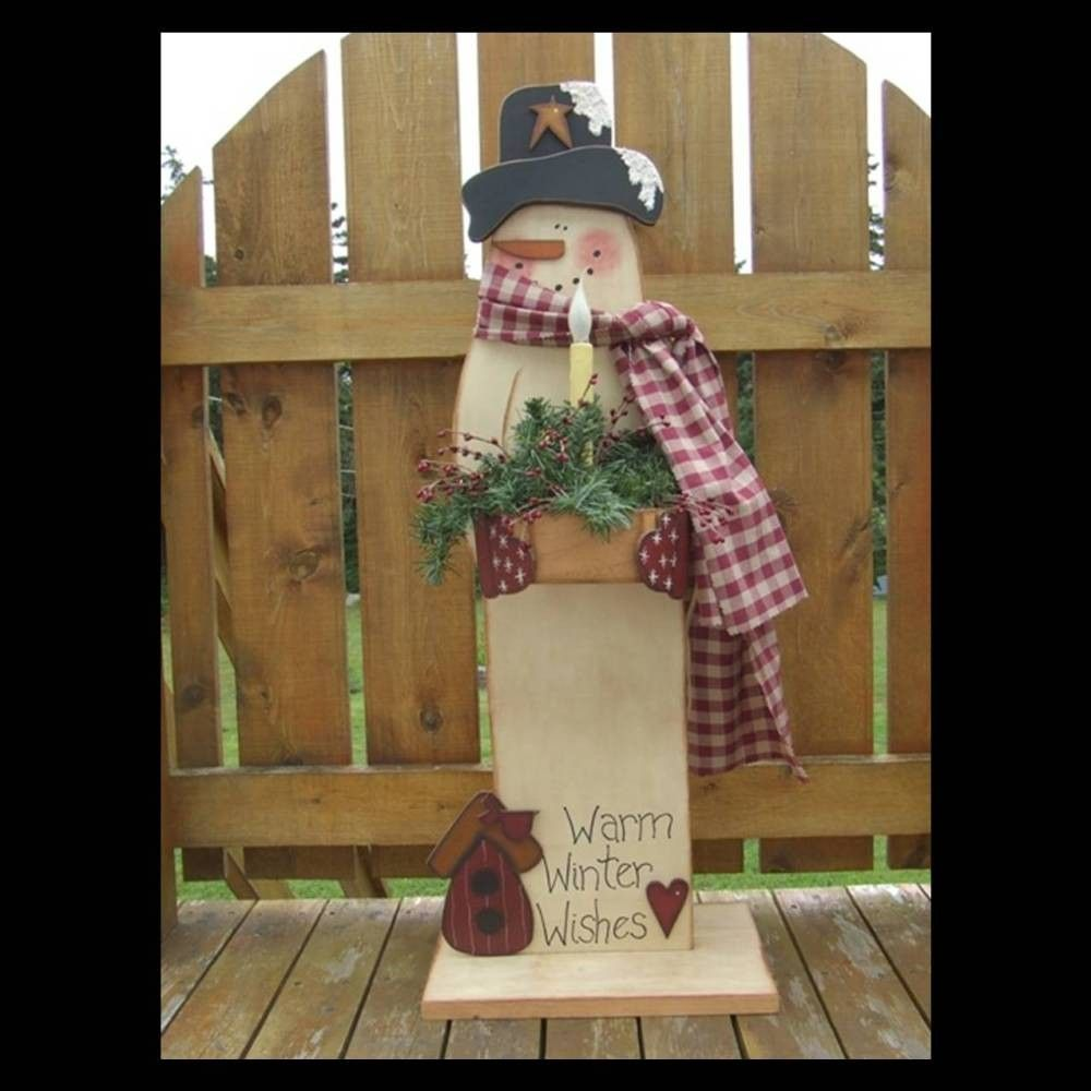 Primitive snowman pattern via etsy epatternmyfrontporch for Wooden christmas yard decorations patterns