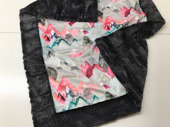 Best Mountain Blanket Minky Baby Blanket Pink Dark Grey Plush 400 x 300