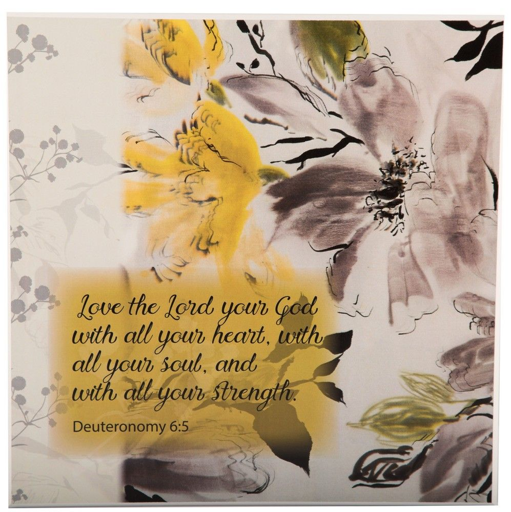 This beautiful wall art features yellow and muted colored flowers ...