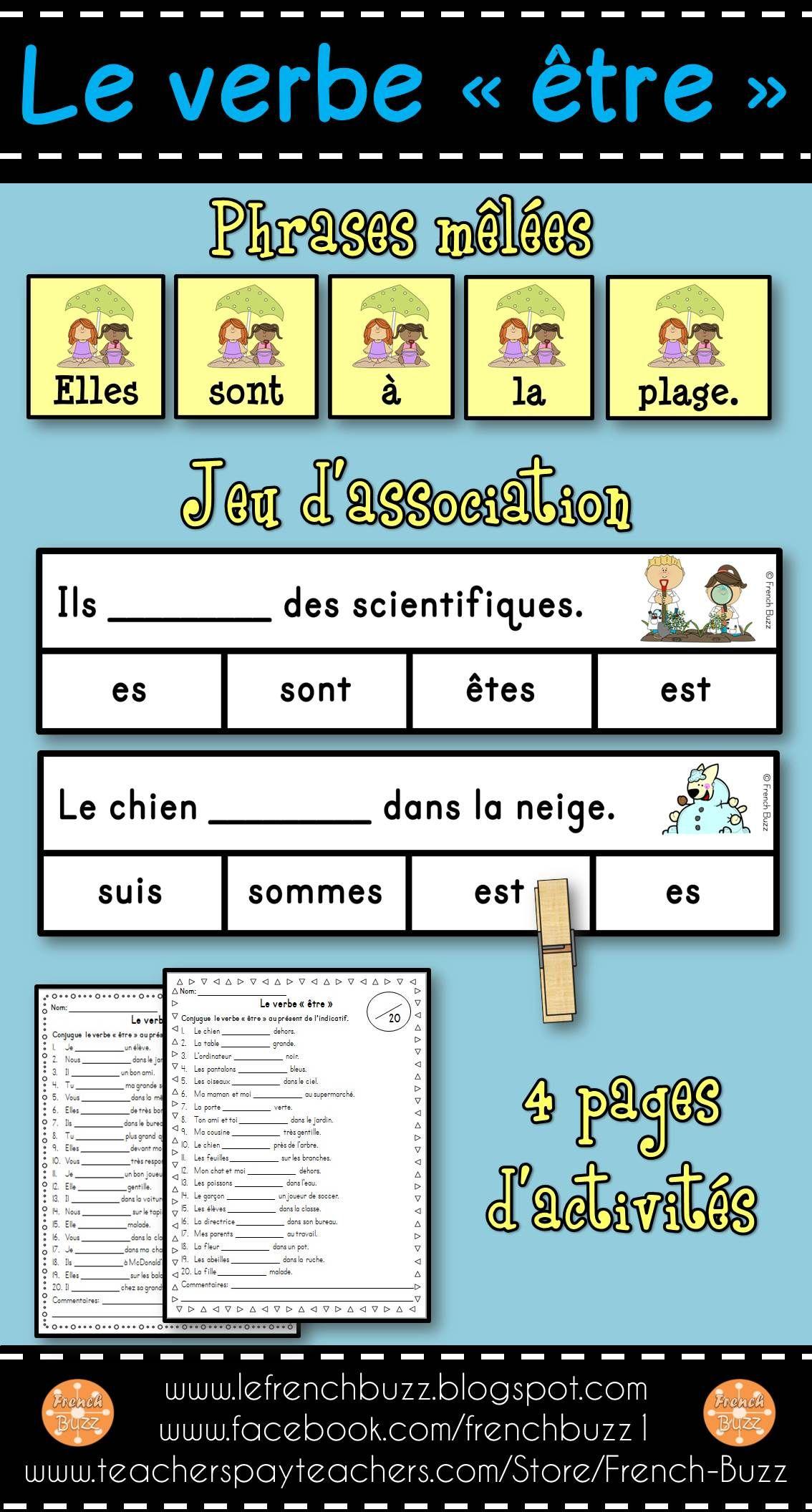 Le Verbe Etre Ensemble 3 Activites Teaching French Language Class English Book