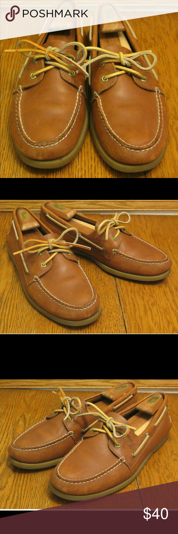 Mens SPERRY TOPSIDER brown leather DECK