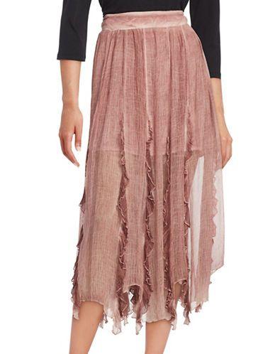Free People Follow Me Ruffled Maxi Skirt Women's Terracotta 10