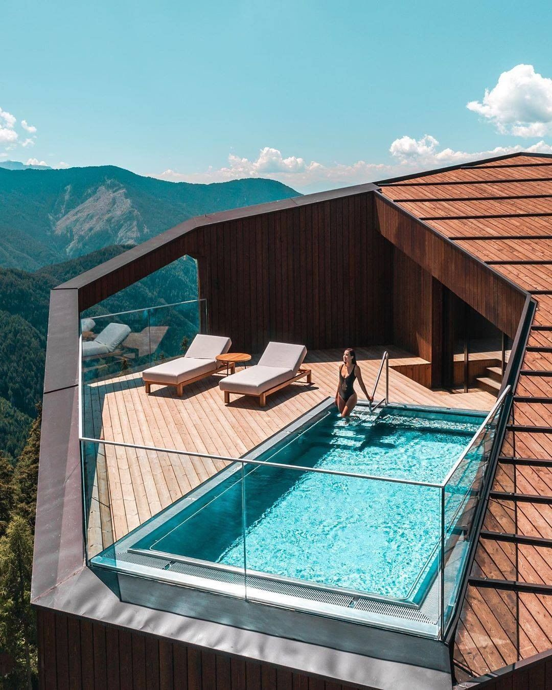 Uncommon Hotels On Instagram Stunning Private Rooftop Pool At The Forestis Dolomites In Bressanone Italy Rooftop Pool Swimming Pool House Pool House Designs