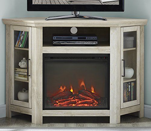 We Furniture 48 Wood Corner Fireplace Media Tv Stand Console