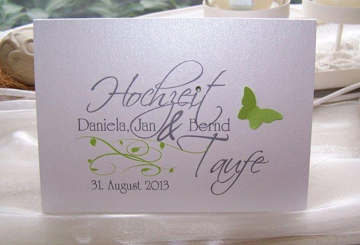 Hochzeit+Taufe Einladung   Mit Blauen Verzierungen