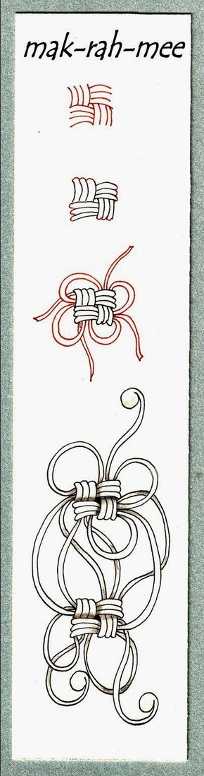 step-by-step instructions for drawing Mak-rah-mee | Zentangle