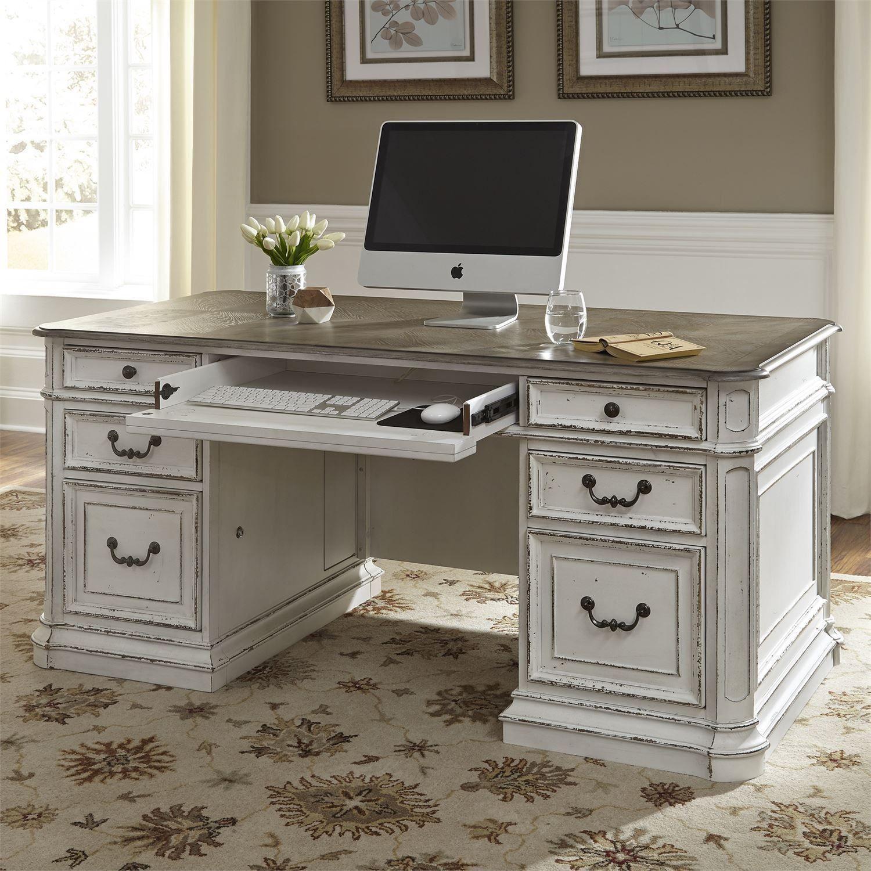 Magnolia Manor Antique White Jr Executive Home Office Set Antique White Desk Cheap Office Furniture Executive Desk