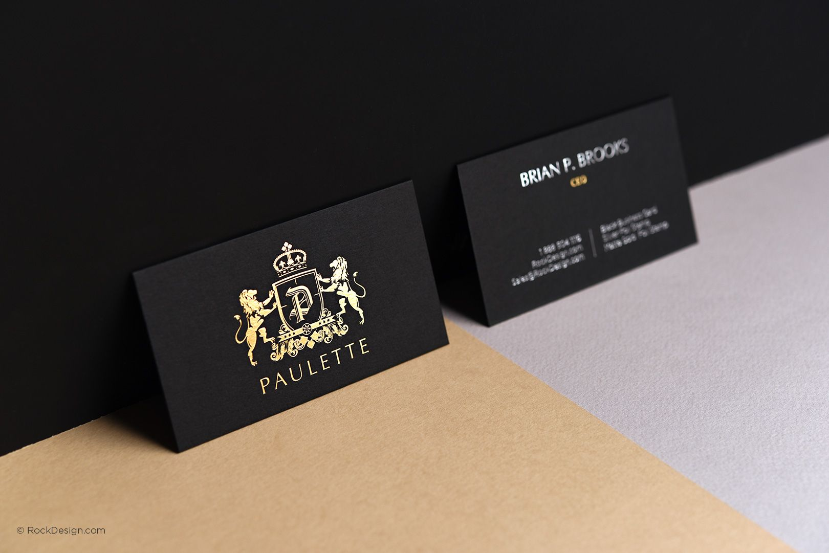 Black business card matte gold stamping elegant classy template ...