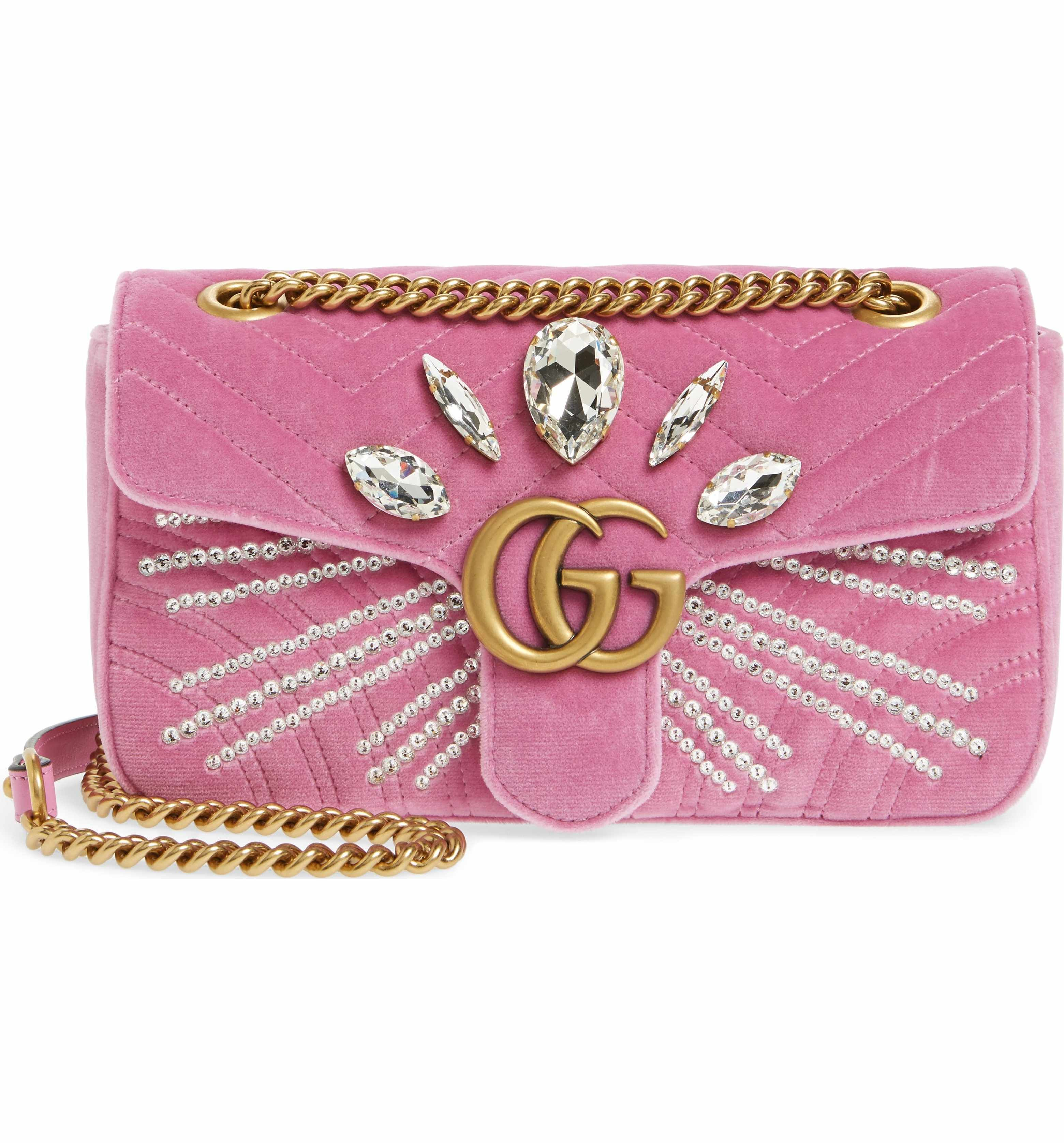 c398877847467f Main Image - Gucci GG Marmont 2.0 Crystal Embellished Velvet Crossbody Bag