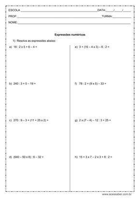 Pin Em Exercicios De Matematica Para O 6 Ano