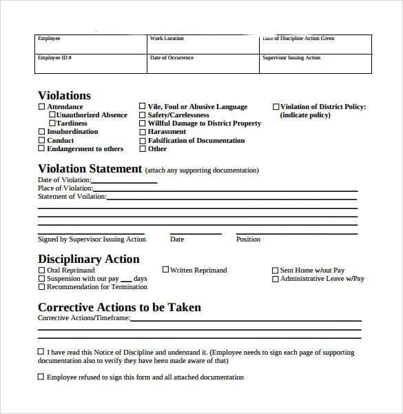 Employee Write Up Form 5 Templates