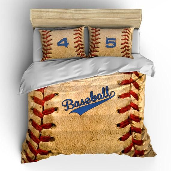 Baseball Duvet Cover Set with Pillow Shams Bats Balls and Gloves Print