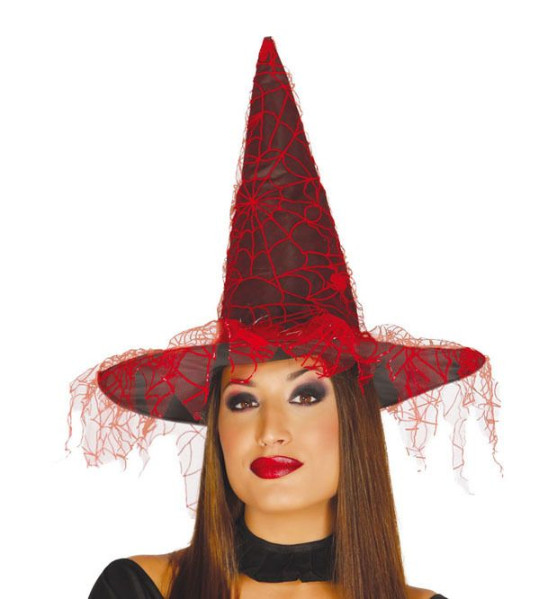 6f8c3dd41 Sombrero adulto Bruja Telaraña tela - Negro-Rojo | Halloween ...