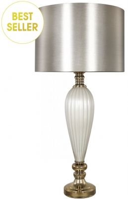 White Pearl Clical Table Lamp With Champagne Shade Cfs