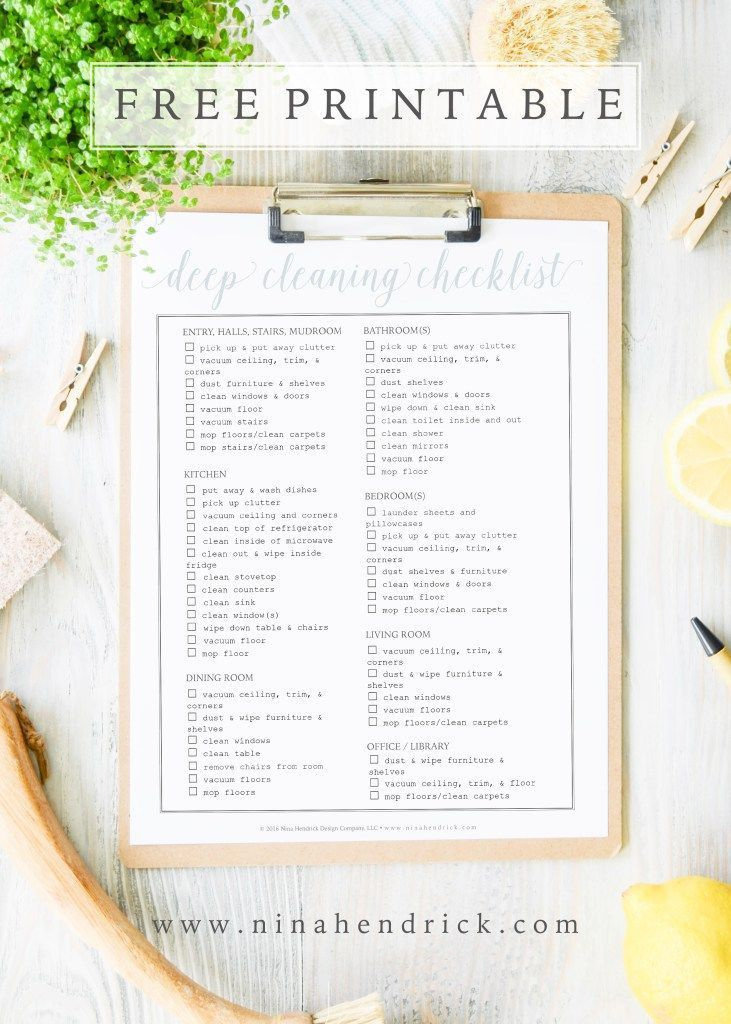 Free Printable Whole House Cleaning Checklist House cleaning