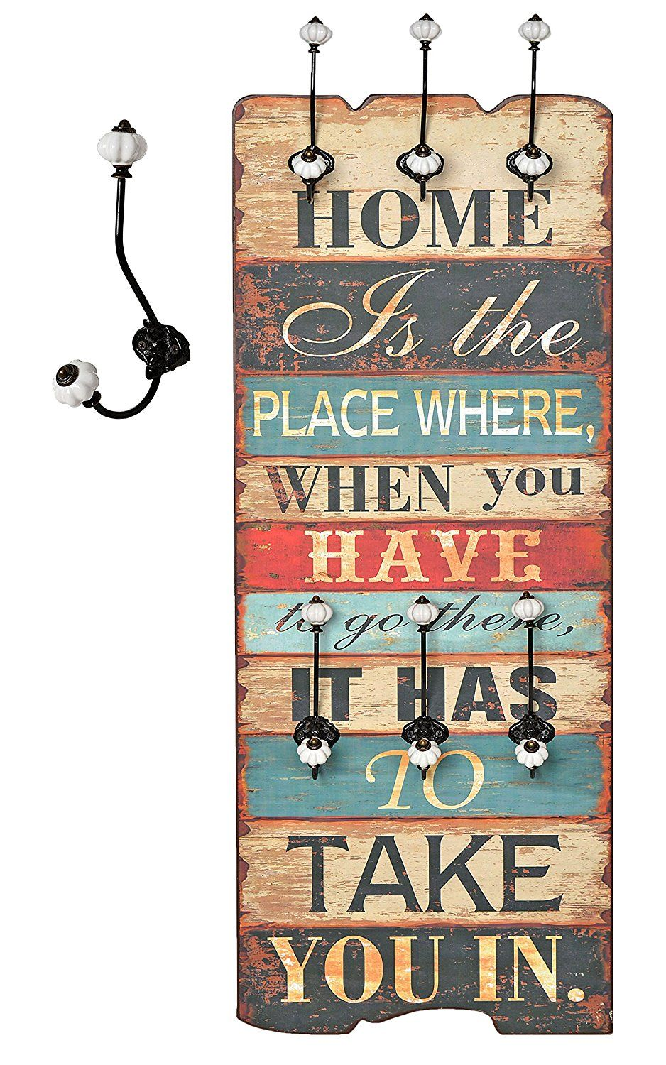 "Appendiabiti da parete ""Home is"" effetto shabby attaccapanni 100 x 40 cm: Amazon.it: Casa e cucina"
