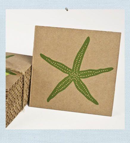 Starfish Cardboard Coasters Ocean Home Decor Ocean Decor Cardboard Coasters