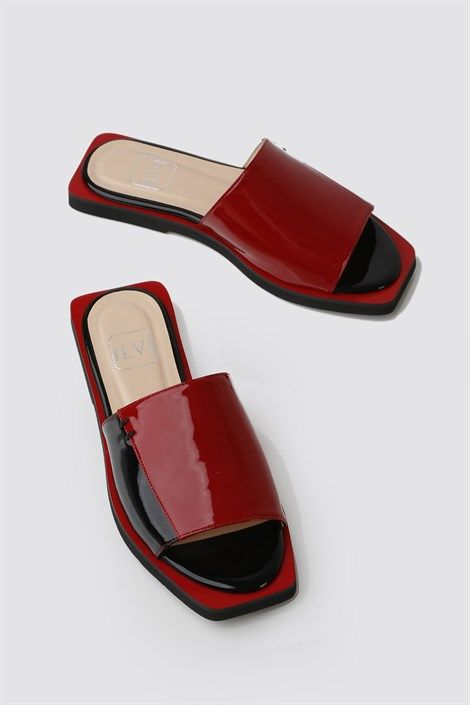 Black Red Patent Leather Women S Slipper Made Of Top Quality 100 Calfskin Leather Outsole Height 1 5 Cm Women Shoes Leather Ladies Slippers Womens Slippers