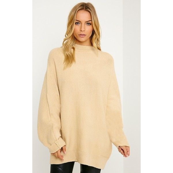 Beige Oversized Knitted Jumper ($43) ❤ liked on Polyvore ...