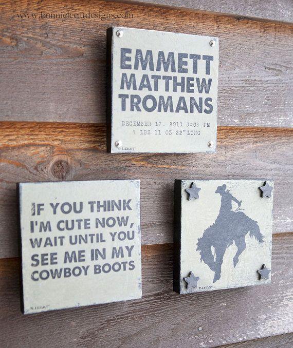 little cowboy art gift set baby boy gift set by bonnielecat 90 00
