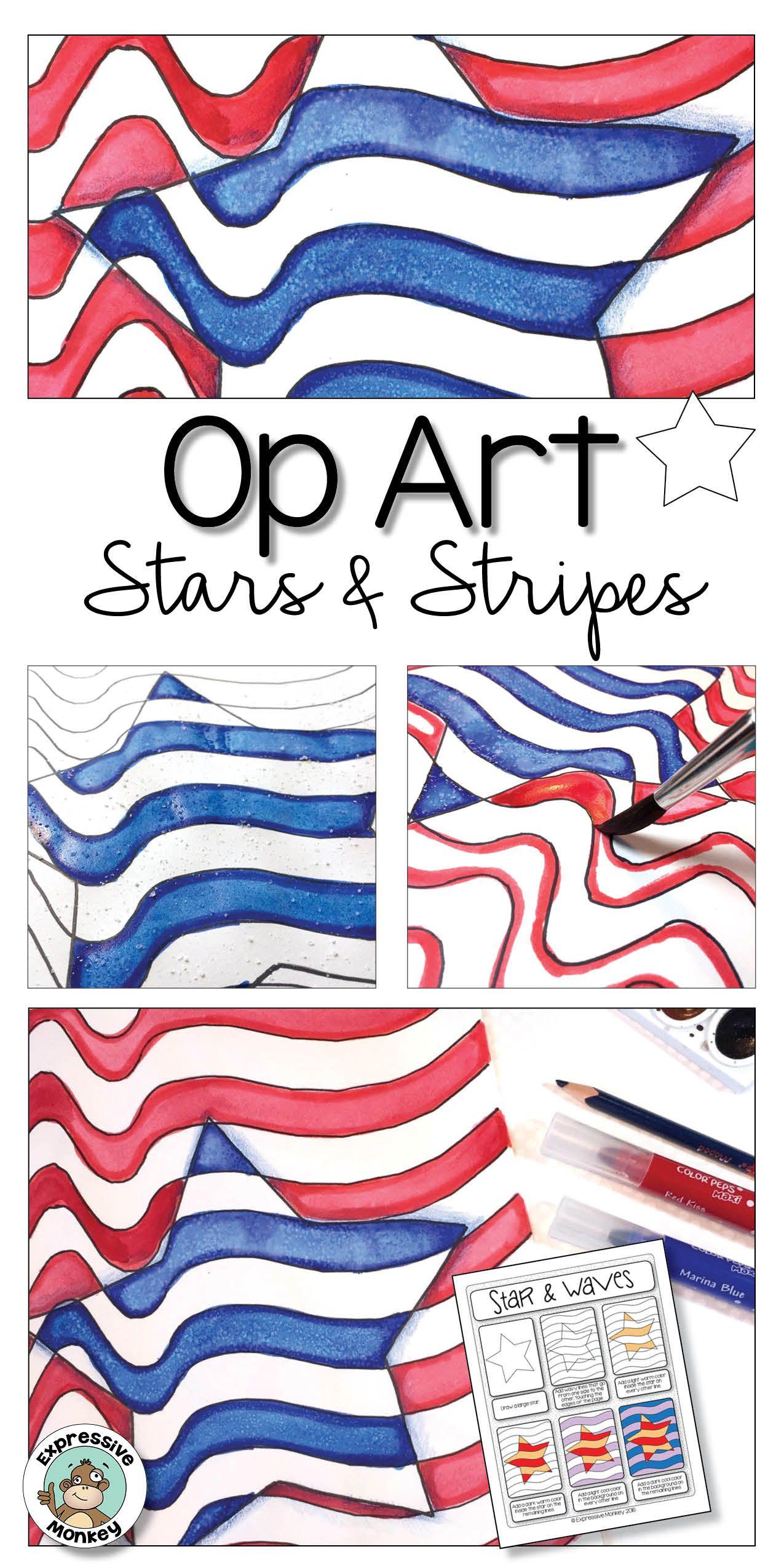 Patriotic Activity Op Art Stars Amp Stripes