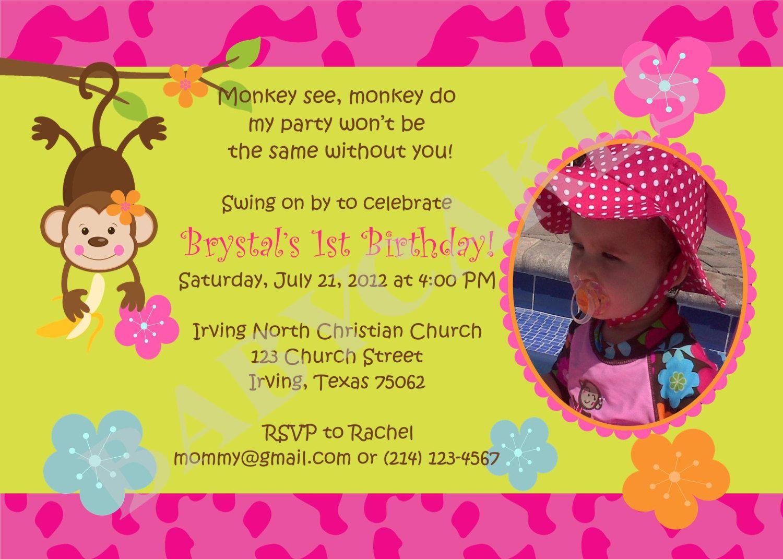 Gmail birthday theme - Monkey Pool Party Birthday Invitation Monkey Love Monkey Luau Pool Party Diy Print Your Own