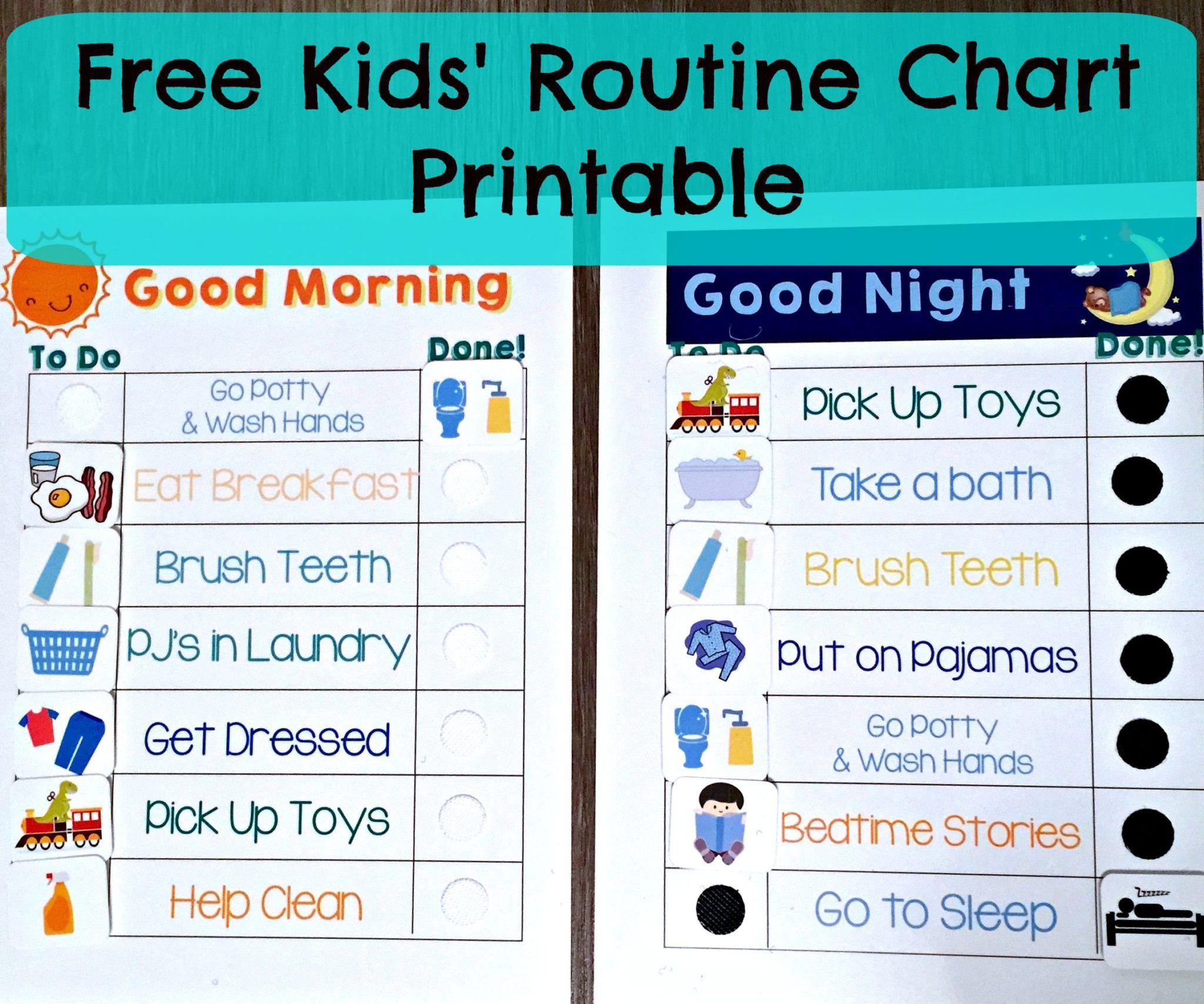 Free Kids Morning Amp Night Routine Charts
