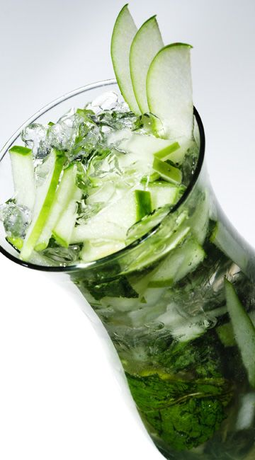 Double Apple Mojito-YUM    10 fresh mint leaves  1 cup ice  A splash of simple syrup  ¼ cup apple juice  1/3 cup vodka  Apple slices, for garnish       Crush the mint leaves with a muddler. Add to a tall glass with the ice, simple syrup, apple juice, and vodka. Garnish with apple slices and serve