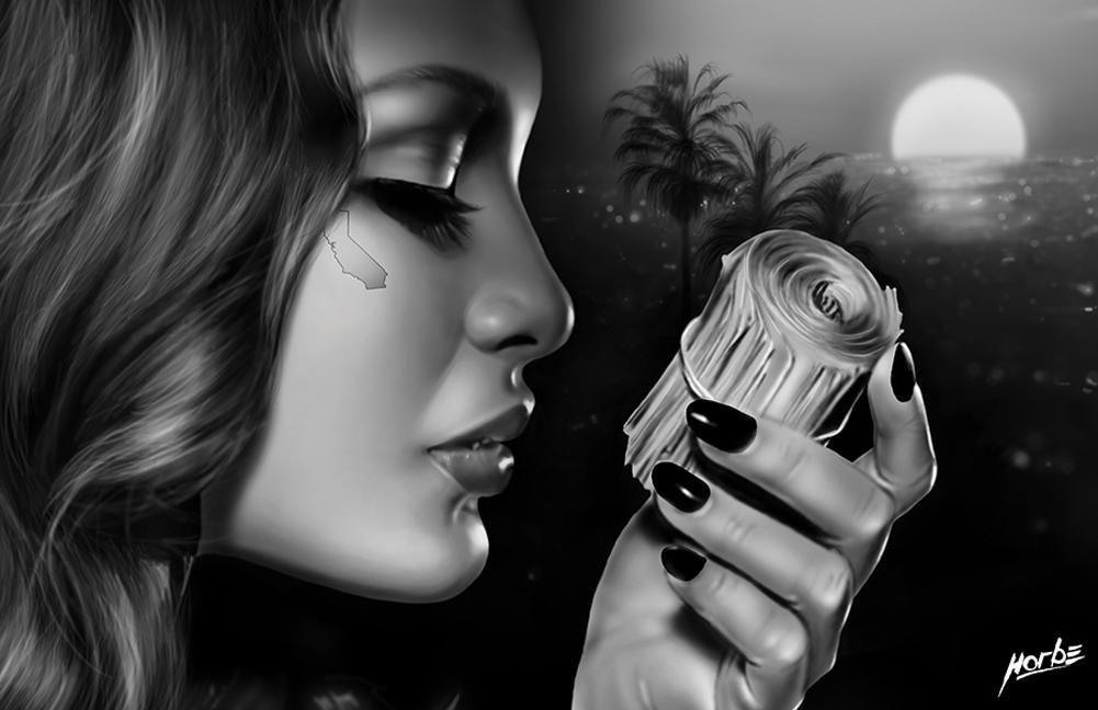 d6ff60030 Money Roll by Horbe California OG Gang Woman Tattoo Canvas Art Print ...