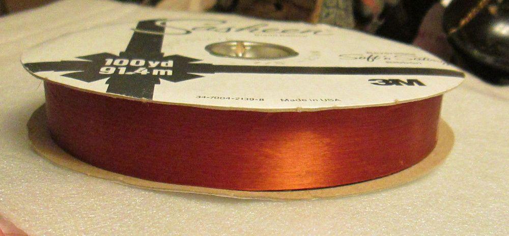 vtg 3m sasheen ribbon chocolate brown reversible soft n satiny 100