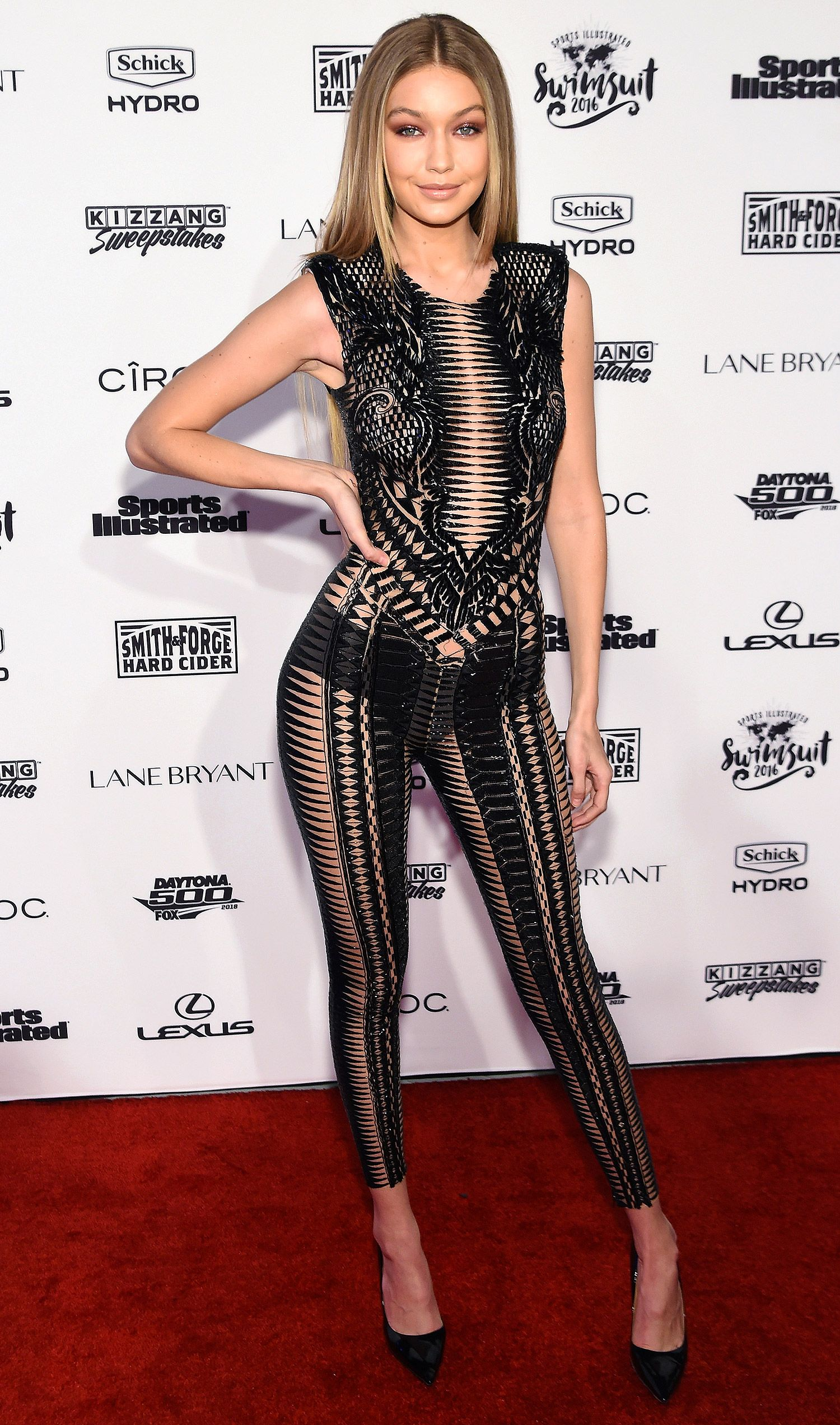 Gigi Hadid in a sexy strappy Julien Macdonald jumpsuit