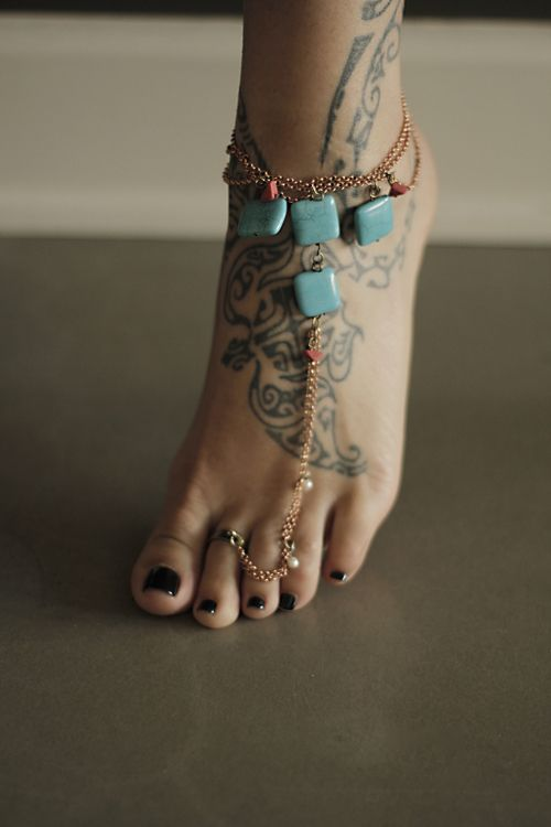 love this...turquoise anklet & toe ring
