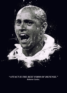 Roberto Carlos Famous People Quotes By Dayat Banggai Metal Posters Displate Quotes By Famous People Roberto Carlos Wallpaper Football Graphic Design
