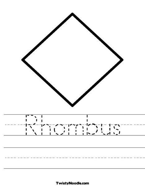 Rhombus Worksheet From Twistynoodle Com Shapes Preschool Math